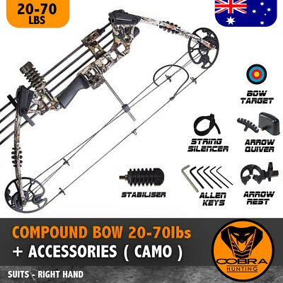 20-70lbs Compound Bow Arrow Archery Hunting Target Cross Camo Magnesium Right