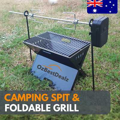Camping SPIT Grill Campfire BBQ outdoor Portable Cooking FOLDABLE STAINLESS BOAT