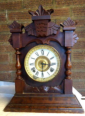 VICTORIAN. Oak Mantel Clock with Floral Carvings  c1881