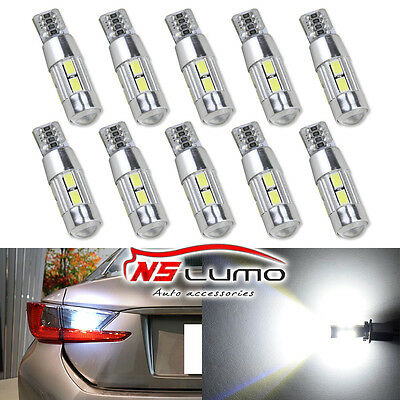10x 5630 10smd T10 LED Light Bulb Car Backup Reverse Lamp 168 194 W5W 501 canbus