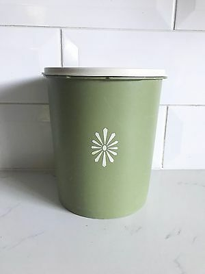 Vintage Tupperware Canister 19cm Retro Green Cream 1970s Press Lid Container