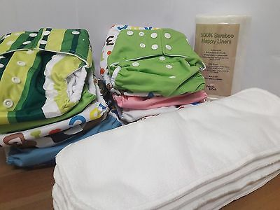 Pocket Modern Cloth Nappies Starter Pack with Microfiber Inserts and Liner  OSFM