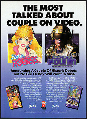 BARBIE and the ROCKERS / CAPTAIN POWER__Orig. 1987 Trade AD promo__Hi-Tops video
