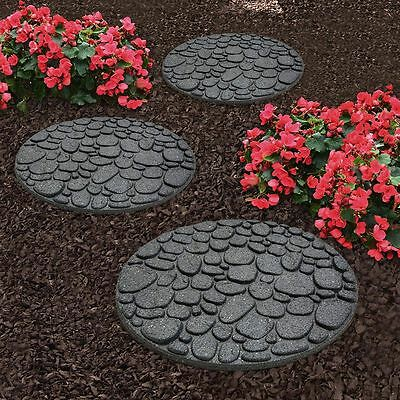 River Rock Hard Wearing Garden Stepping Stone Recycled Rubber - 45cm Diameter