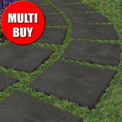 Stomp Stone Garden Stepping Stone Slate Paving Recycled Rubber 16 Pack Multi Buy