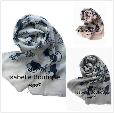 New Ladies Women Cat Print Scarf Pashmina Fashion Neckerchief Animal Print Scarf