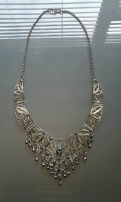 Vintage Islamic White Metal Filigree Necklace Necklace