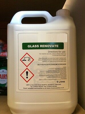 2 x 5ltr Glass Renovate 5L 5 Litre Professional Liquid Detergent Cleaner Fluid