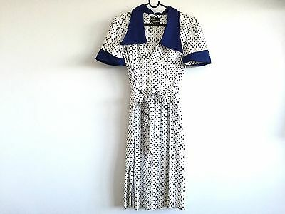 50s 60s Vintage Retro Rockabilly White And Navy Polka Dot Soft Cotton Dress