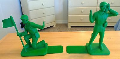 Child's Toy Soldier Bookends - Hard Rubber And Metal