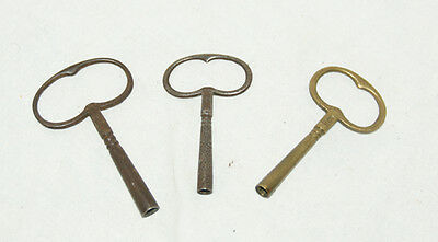 3 x Antique/Vintage Mantel/Wall Clock Keys
