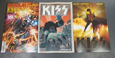 3x KISS 8; A MANDRAKE B WILSON C PHOTO Dynamite Comics First Printing KISS ACE