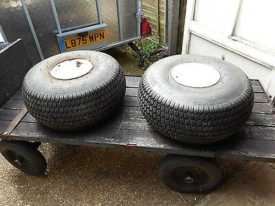 a pair of turf floataion small tractor tyres