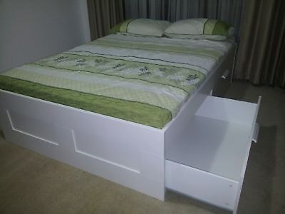Beautiful white Double size Ikea bed with 4big underbed storage drawers+mattress