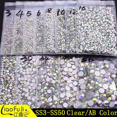 SS3-SS50 Clear/AB Crystal DIY Flatback Glass Rhinestones for Nail Art Phone Case