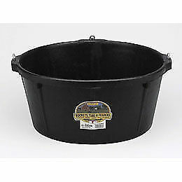 Little Giant Feeder Tub Rubber 3 Metal Hooks Livestock Feeding Watering 6.5 Gal