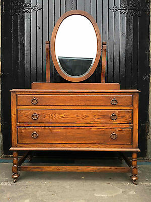 Antique Solid Oak Dressing Table / Chest of Drawers with Large Oval Mirror