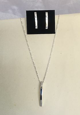 Real Sterling Silver 925 Curved Bar Drop Dangle Earrings & Necklace Set