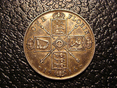 Nice Original Silver 1916 One Florin United Kingdom WE COMBINE ON SHIPPING
