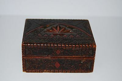 Treen Chip-Work Hand Painted Stamp Box