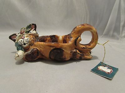 2001 Blue Sky Clayworks Christmas Cat Tea Light Candle Holder 2001 w/Tag