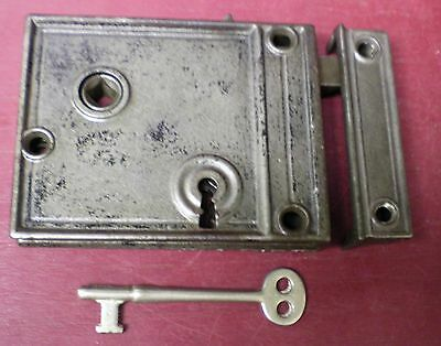 Antique Cast Iron Rim Lock W/ Keyed Deadbolt R Or L Hand Side Of Door #07