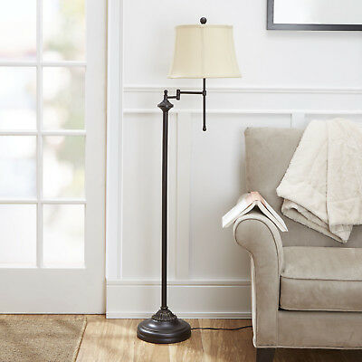 "Modern Floor Lamp 59"" Swing Arm Light Shade Bronze Finish Stand CFL Bulb Includ"