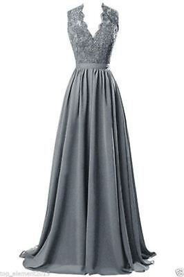 New Plus Size 18W Lace Long V-Neck Bridesmaid Evening Party Prom Chiffon Dresses