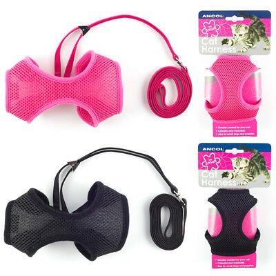 Ancol Cat Harness & Walking Lead Soft Nylon Mesh Comfortable! Pink Black 3 Sizes
