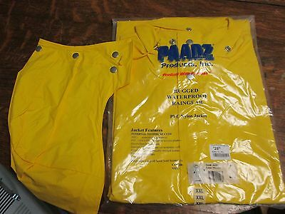 Yellow 2XL Rugged Waterproof Raingear Jacket  with Hood New