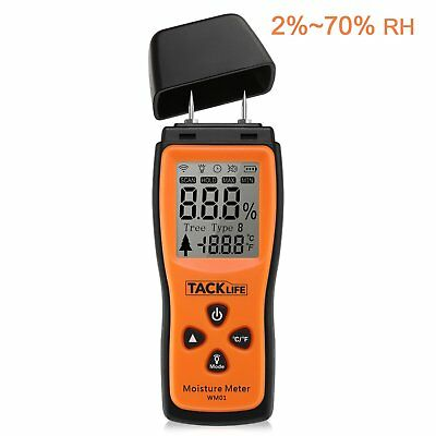Tacklife Wm01 Classic Wood Moisture Tester Lcd Damp Meter 0 70% Rh Detector With