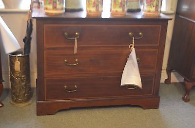 Antique Victorian Mahogany Inlaid Chest of 3 Large Drawers