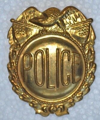 "Vintage Generic ""POLICE"" Badge - Stamped - Made of Brass - Pinback"