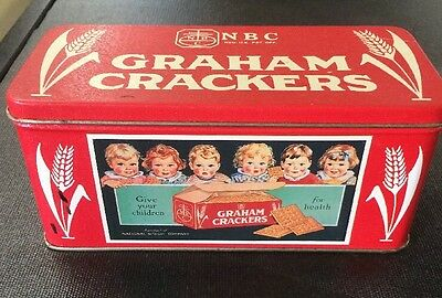NBC Graham Crackers Tin Red National Biscuit Company