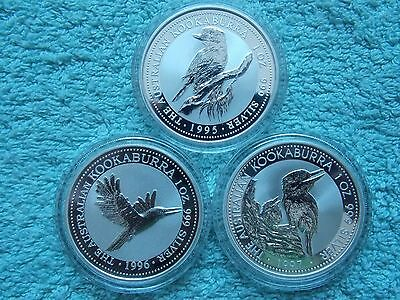 1995-1996-1997 AUSTRALIAN SILVER KOOKABURRA  (Set of three 1 oz Coins).