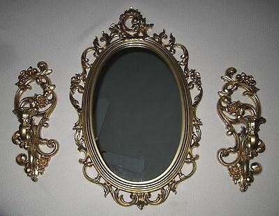 Set of 3=Ornate Retro Syroco Gold Wall Mirror 2314 & Homco Candle Sconces 4118