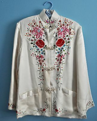 Vintage Chinese Plum Blossom Embroided Silk White Coat