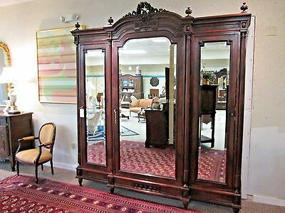 Exquisite Antique French Rococo Triple Walnut Armoire with 3 Mirrors (KH)
