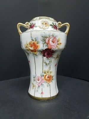 Antique Nippon Vase With Hand Painted Pink And Orange Rose And Gold