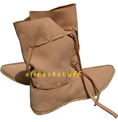 Medieval Leather Shoe High Quality Boots Long with Leather Laces