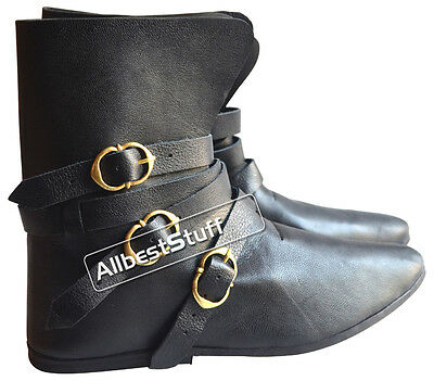 Medieval Leather Shoe High Quality Boots Brass Buckle
