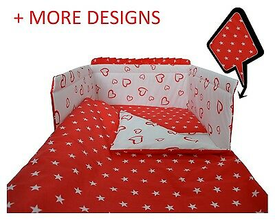2/3/5 Piece Baby Bedding Set fit Cot 120x60cm or Cot Bed 140x70 -RED HEARTS
