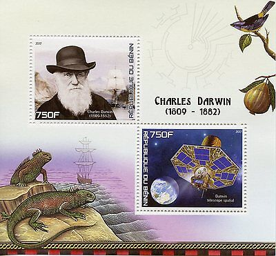 Benin 2017 MNH Charles Darwin 2v M/S Ships Science Telescopes Spaces Stamps