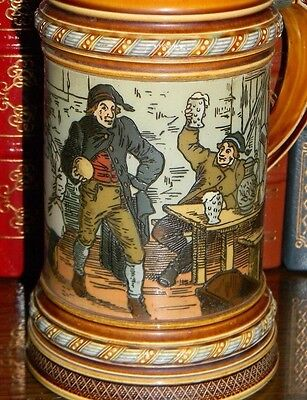 1895 'Men Bowling in Tavern' with Custom Engraved Lid, Antique Mettlach