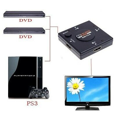 Multiprise 1080P 3 ports HDMI Switch , Video splitter pour tv. ps4, Xbox One, PC