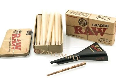 15 Raw King Size Cones With Raw King Size Loader Plus Raw Tin