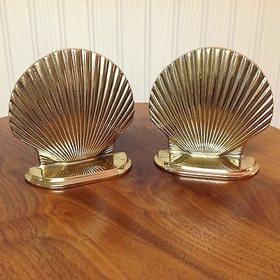 Solid Brass Shell Bookends Lacquered