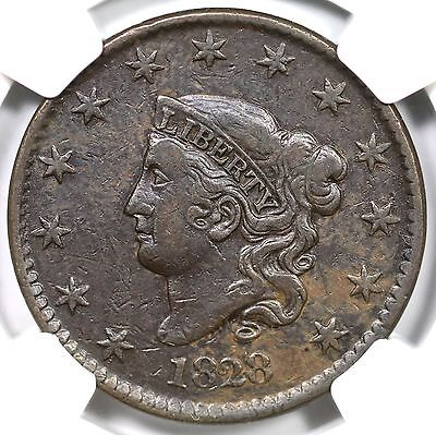 """1828 N-12 R3+ NGC VF30 """"Large Date"""" Coronet Head Large Cent Coin 1c Ex; Reiver"""