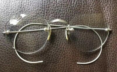 Antique Vintage Wire-Rim Glasses Eyeglasses Frames W/case