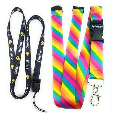 2x Spirius RAINBOW STRIPES Lanyard neck strap for key id badge holder phone key